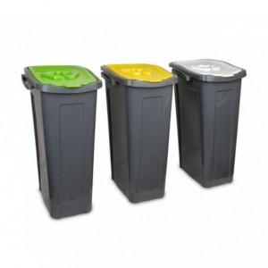 345146 Set de 3 poubelles pour le recyclage du papier-plastique-verre