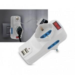 Adaptateur multiprise 1500W max 16 A avec 2 USB 1A - 1 monophasé
