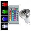 Spot LED RGB avec télécommande multicolore 3w
