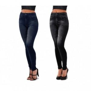 3059 Set de 2 leggings mode effet denim flexibles et confortables 2 couleurs