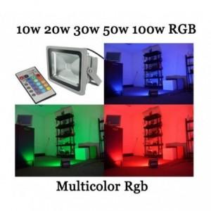 Phare - Projecteur LED RGB avec télécommande multicolore 10w 20w 30w 50w 100w