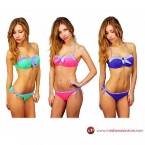 MALIBU - Bikini nœud et rayures devant - Coll. Californie (38, Bleu)