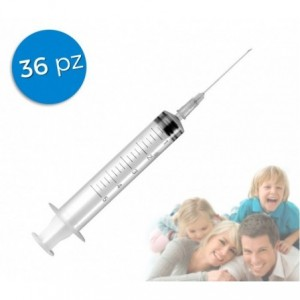 Pack de 36 seringues stériles à usage unique capacité 5ml aiguille 22g