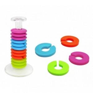 230794 Set de 24 anneaux marque-verres colorés en silicone