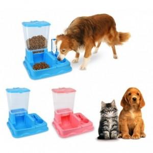3028 Distributeur automatique de croquettes + eau avec double bol Chien et chat