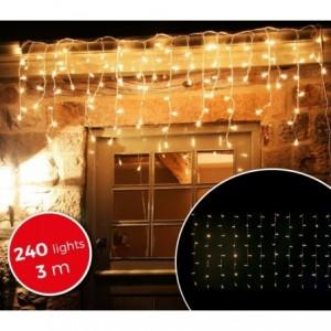 031342 Rideau de lumières de Noël d'extérieur 3mt 240 lumières blanches