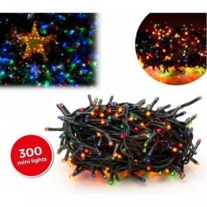 Lumières de Noël MULTICOLORES 300 ampoules avec 8 effets et câble vert