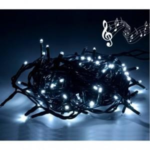 467073 Lumières de Noël 100 LED blanches avec effets sonores 8 mélodies 6 m