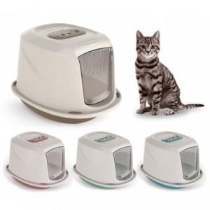 10586 Maison de toilette pour chats GALAXY 45x36x31,5cm avec palier anti-poils