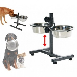 86483 Double gamelle DOG BOWL en acier inox pour chiens avec support réglable