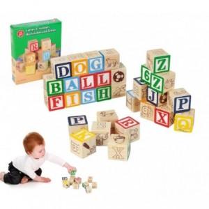 98304 Playset éducatif en bois cubes avec animaux, lettres et numéros 3x3 cm