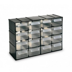 182475 Tiroir BOX SIMPLY en plastique rigide range quicaillerie 16 tiroirs