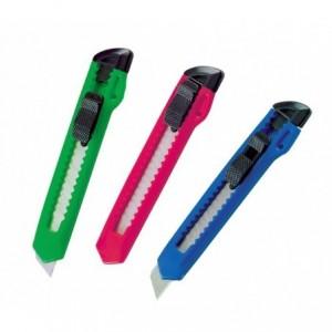 760723 Ensemble de 3 couteaux à lame rétractable en plastique et métal - Cutter