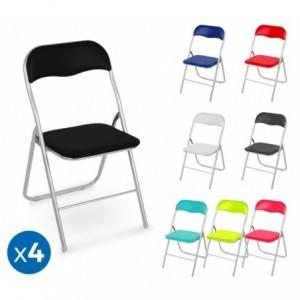 2008AN0816 Set de 4 chaises pliantes colorées ass. Lione rembourrées base métal