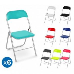 2008AN0816 Set de 6 chaises pliantes colorées ass. Oslo rembourrées base métal