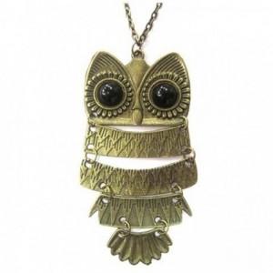Collier pendentif chouette / hibou - charme de la chance - de bronze