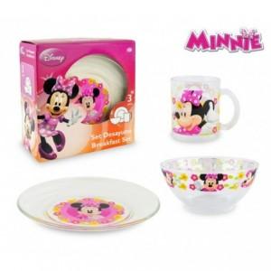 WD7400 Set de Petit-déjeuner Minnie Mouse avec bol tasse et soucoupe en verre