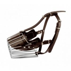 5810 Muselière à panier en acier et en cuir pour chiens de grande taille 15 cm