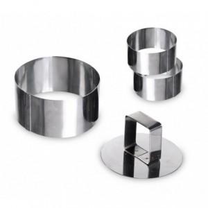 702207 Set de 3 emporte-pièces ronds en acier 8cm avec poussoir GRAND CHEF