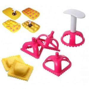 704636 Set de 4 moules en plastique taille raviolis et biscuits bords dentelés