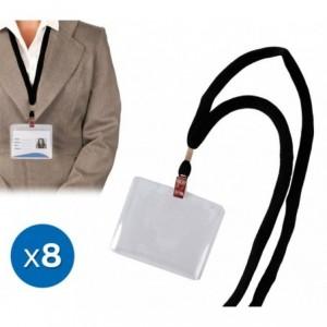 449854 Set de 8 porte-badges avec sangle et pince 90 x 60 mm Carte pass