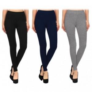 BM03 Leggings en coton extensibles pour femmes couleurs tendances gris noir bleu