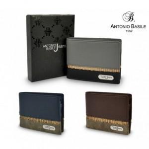 Portefeuille pour hommes 8806 PSB30 en cuir ANTONIO BASILE avec portemonnaie