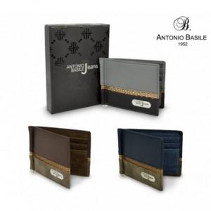 Porte-cartes hommes 8858 PSB30 en cuir ANTONIO BASILE pince à billet centrale