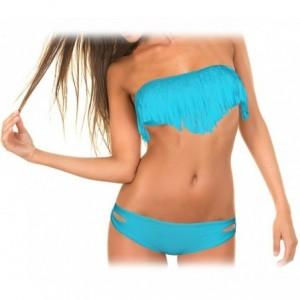 Maillot de bain avec bandeau à frange rembourrage amovible Bikini de mer push-up