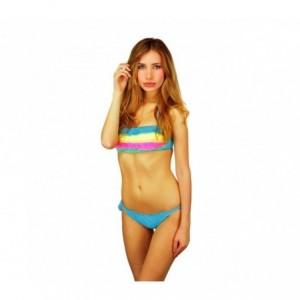 F2861 Maillot bikini bandeau mod. Rainbow avec volants en dentelle by MWS AHEAD