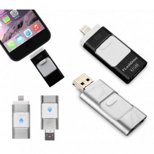 Clef USB 3 en 1 connecteurs ligntning micro usb 64Go flash drive storage