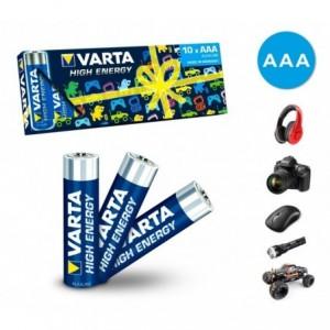 Pack de 10 mini piles AAA Varta 774128 alcalines LR03 1.5V
