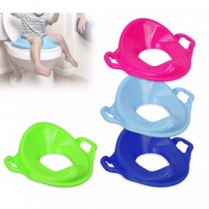 11107 - siège toilette enfant / ergonomique WC - dossier haut - double poignée