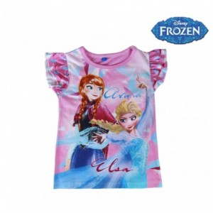 T-shirt enfant LA REINE DES NEIGES Elsa et Anna 2200001949 Coton de 3 à 7 ans