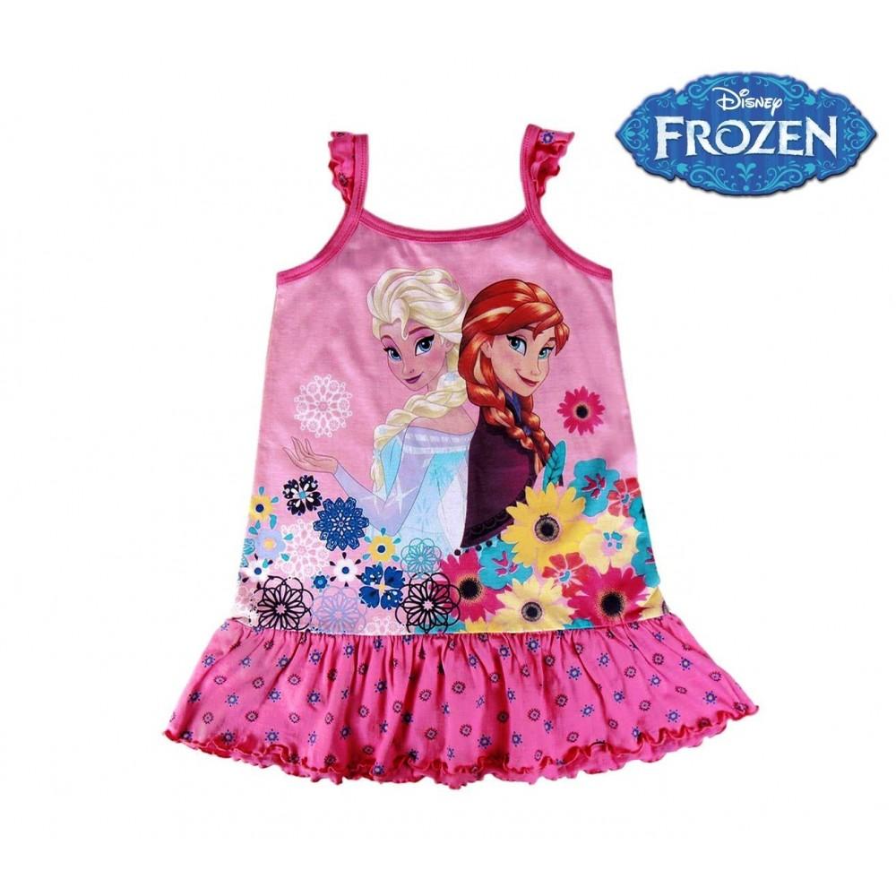 Robe enfant en coton avec elsa et anna la reine des neiges 2200001968 3 7 ans - Robe elsa reine des neiges ...