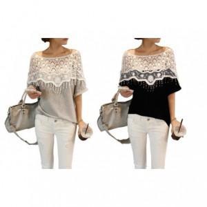 T-shirt mod. Munich Manches courtes noir et gris col mode féminine femme fille