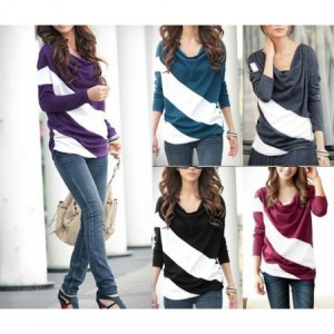 T-shirt pull rayé chandail mode féminine, femme, fille Mod. ECLIPSE