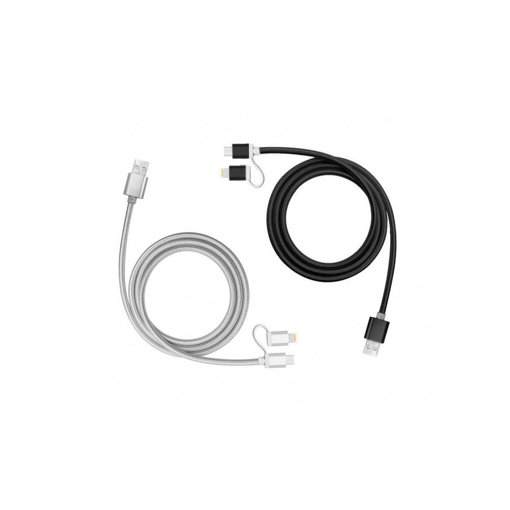 893267 Câble 2 en 1 Micro USB adaptateur de charge Lightning et données 39 cm