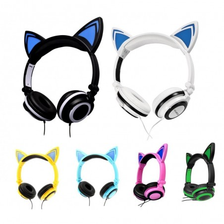 4395 Casque audio oreilles de chat avec LED clignotant ou fixe câble 1,5 mt