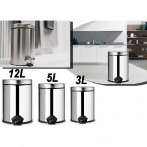 Set de 3 poubelles de cuisine à pédale 3 - 5 - 12 lt en inox poli