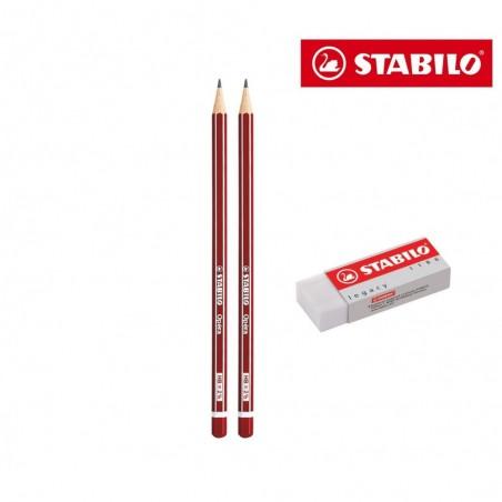 IT15/2851186 Set de papeterie Stabilo 3 pcs 2 crayons graphite Opéra HB 1 gomme