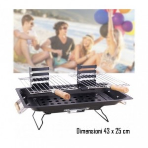 Barbecue de table à charbon deux grilles 43x25 cm mod KALBARRI de BBQ COLLECTION
