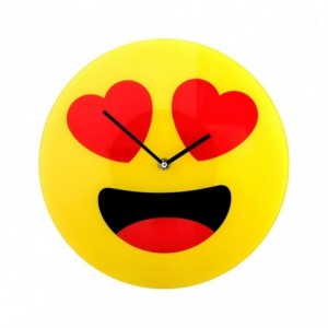 79/3232 Horloge murale en verre émoticône avec les yeux en coeurs 30 cm ø