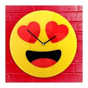 79/3232 Horloge murale en verre émoticône avec les yeux en cœurs 30 cm ø