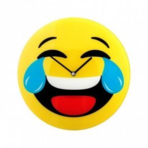 79/3230 Horloge murale en verre émoticône tête qui pleure de rire 30 cm ø