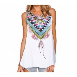 3908 T-shirt femme modèle Elena avec impression colorée tailles S à XL