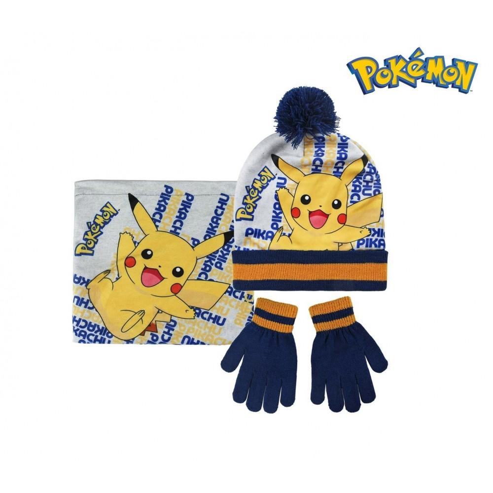 2200002544 Set D'hiver 3 Pièces Pour Enfant Pokemon écharpe Bonnet Et Gants