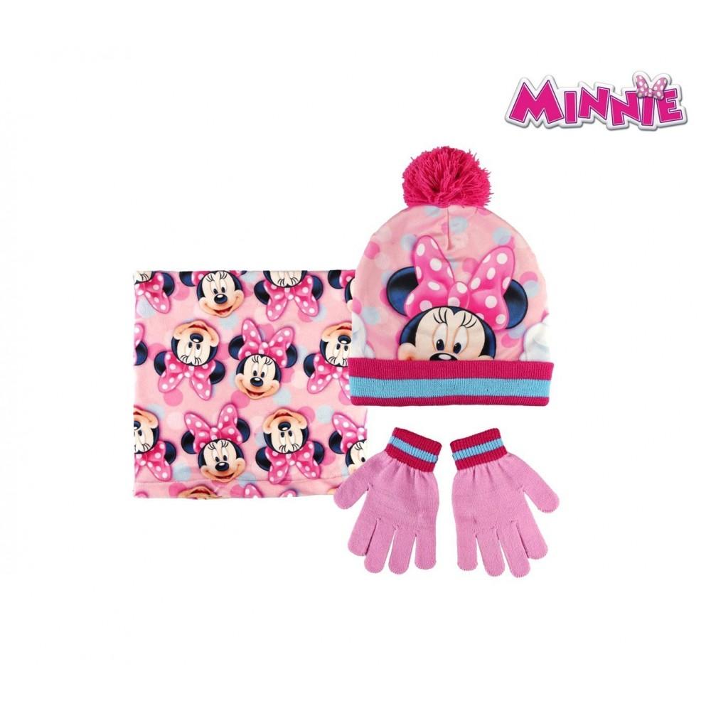 2200002550 Set D'hiver 3 Pièces Pour Enfant Minnie Mouse écharpe Bonnet Et Gants Emballage De Marque NomméE