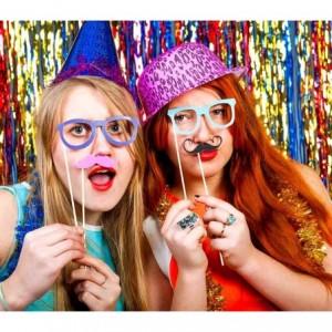 106058 Set de Photo booth PHOTO PROPS 32 pièces moustaches lèvres pour soirée