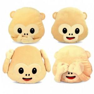 347621 Coussins décoratifs émoticône les trois singes de la sagesse 36 cmø